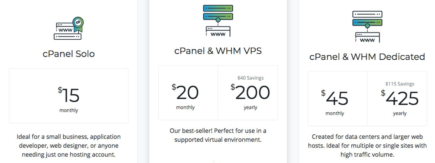 Screenshot of cPanel pricing options