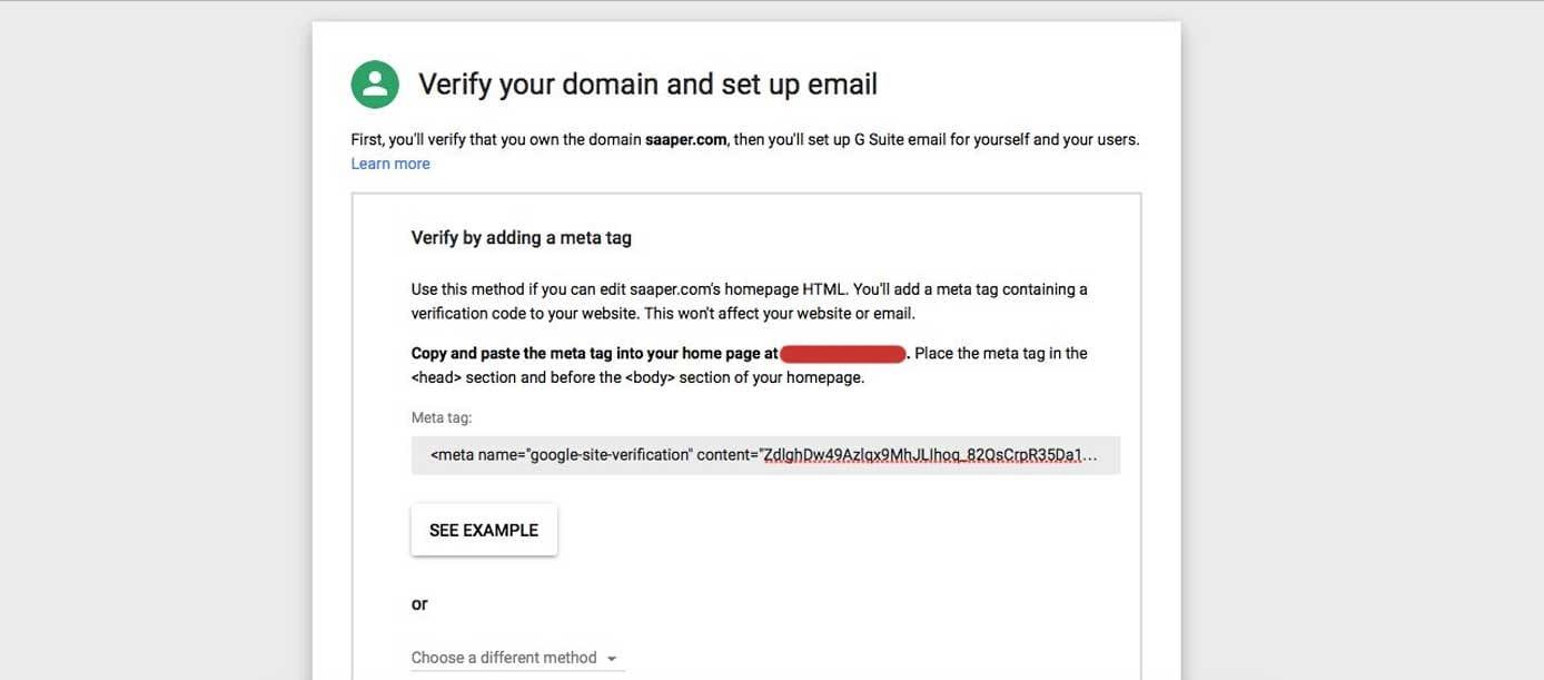 Screenshot of Google domain verification process