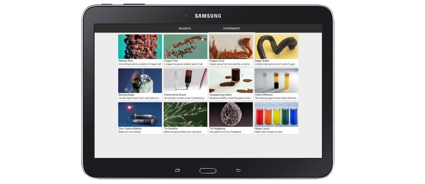 Experiment list on an Android tablet