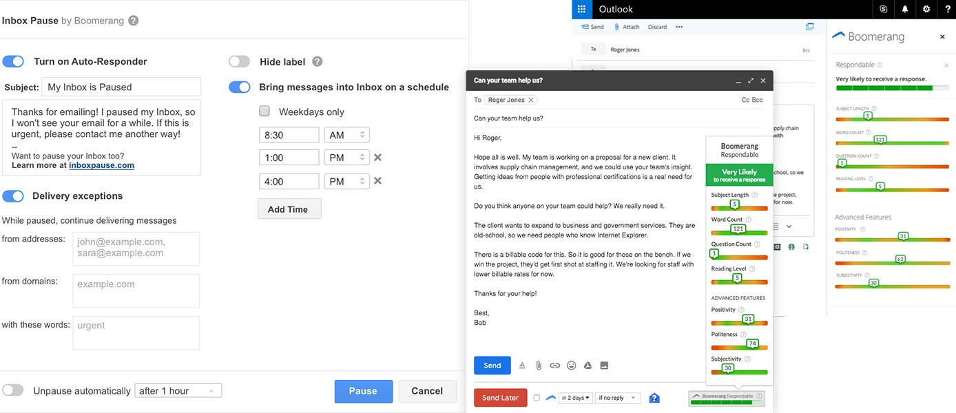 Screenshots of Inbox Pause and Respondable