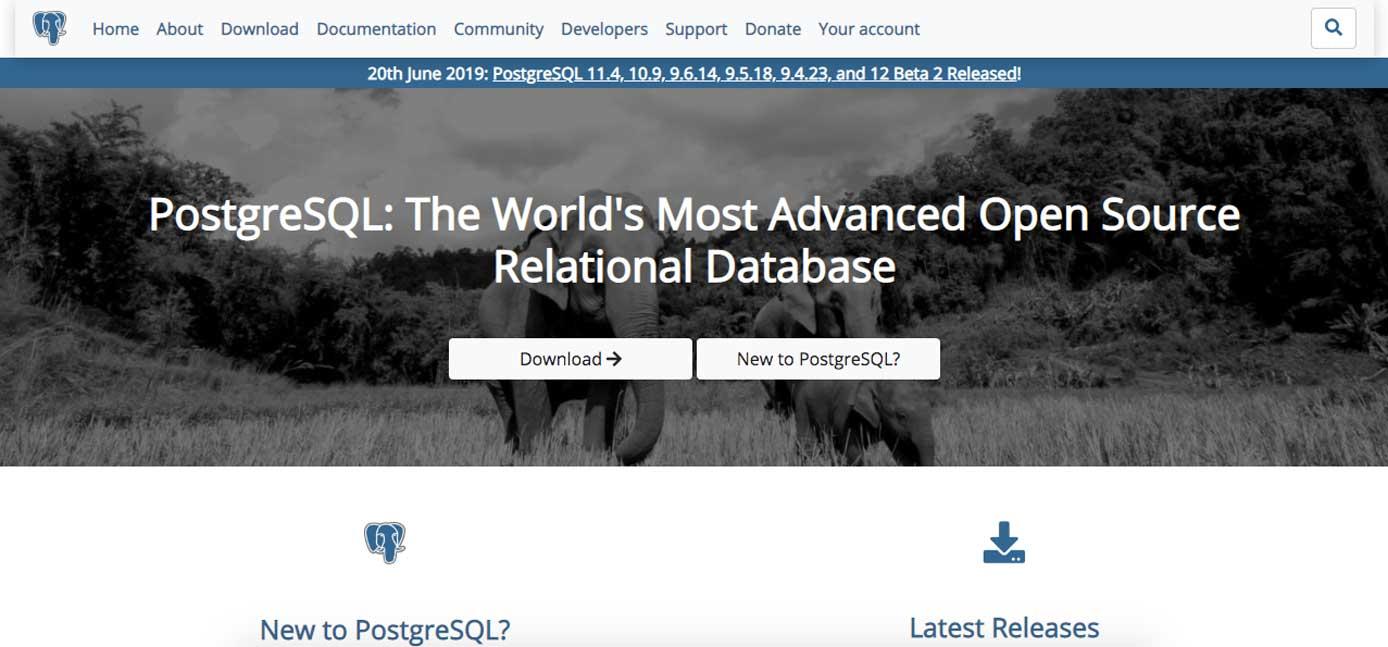 Screenshot of PostgreSQL website
