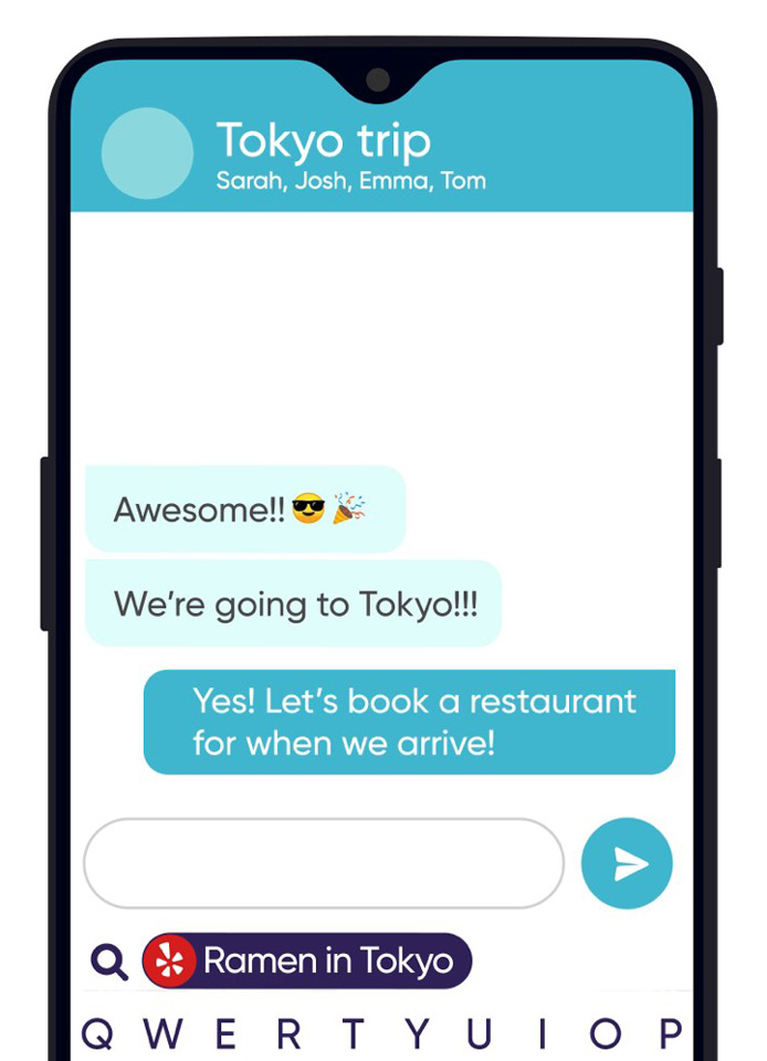 Screenshot of Fleksy app on mobile device