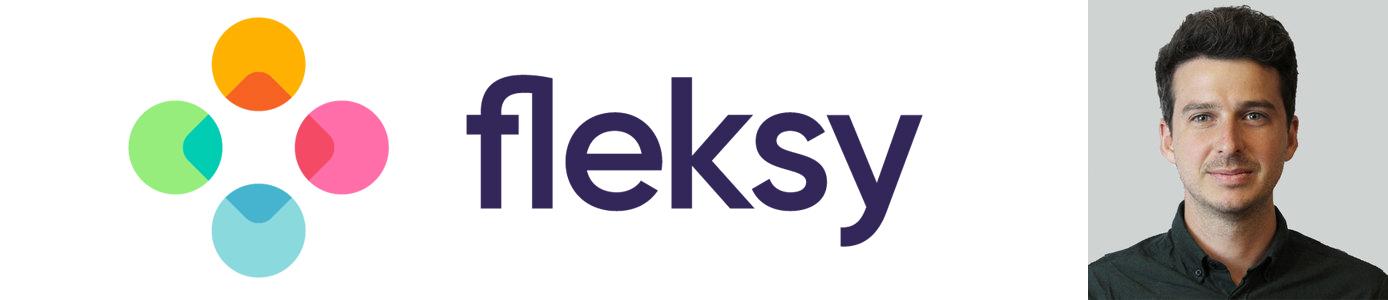 Fleksy logo and photo of Head of Marketing Stephane Dussart