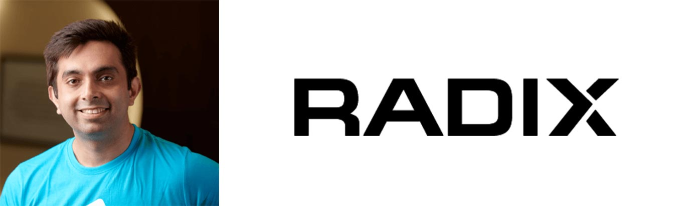 Image of Radix CEO Sandeep Ramchandani with Radix logo