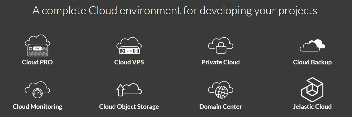 Screenshot of Aruba.it cloud environment