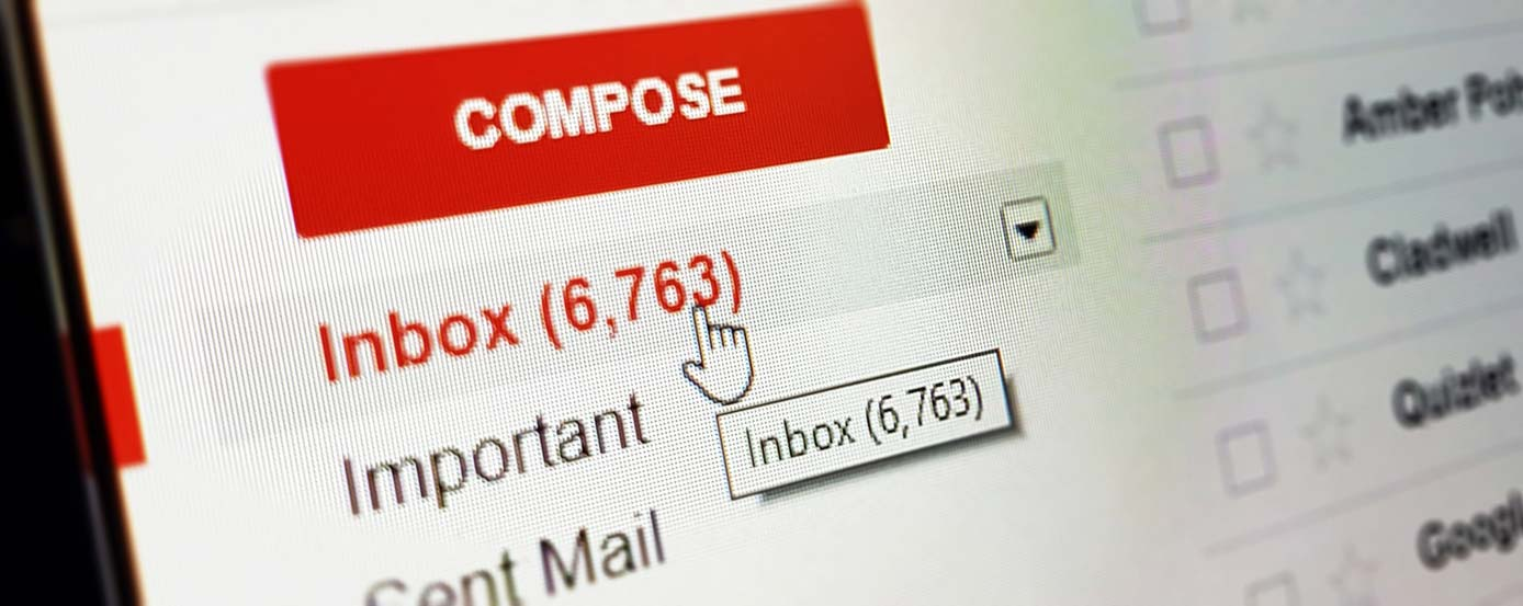 Image of an email inbox on a computer screen