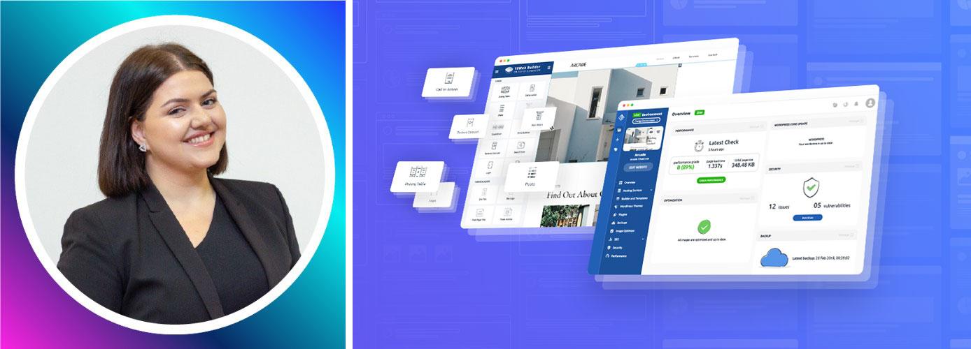 Photo of 10Web Marketing Director Araks Nalbandyan and screenshots of graphics