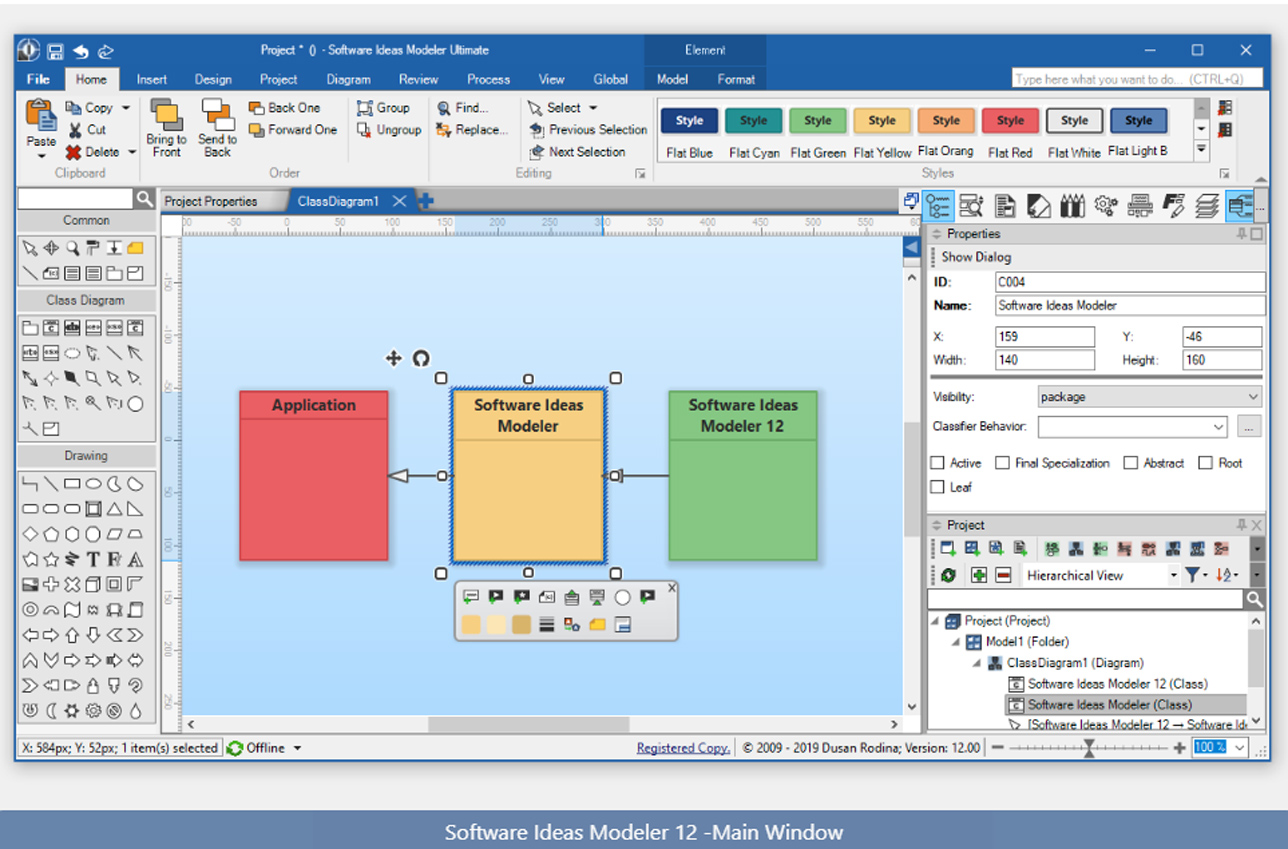 Screenshot of Software Ideas Modeler 12 - The Main Window